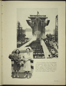 CVL-29 was launched at NY Shipbuilding Corp., Camden, NJ on 1 August 1943.  The Maid of Honor, Miss maria Osmena, daughter of Honorable Sergio Osmena, then Vice-President of the Philippine Commonwealth, and the ship's sponsor, Mrs. G. Murray, wife of RADM George Murray.  (USS Bataan WWII cruise book, via Fold3)
